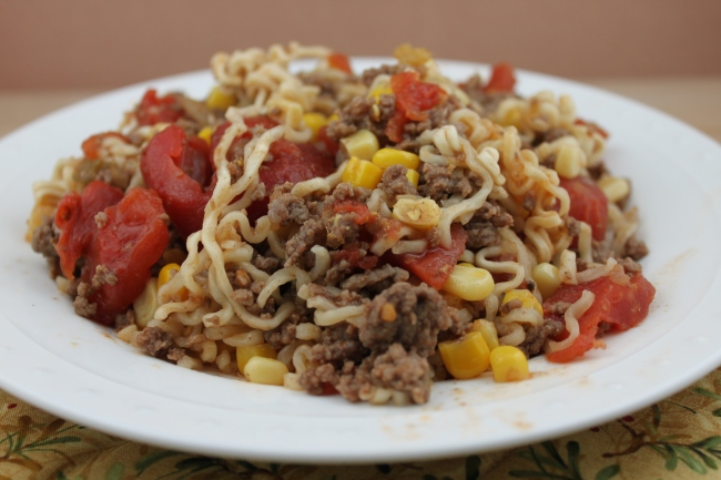 with recipe ramen corn Kid Main Approved Noodle Beef Mother's Dish:  Curly  Dinner Skillet